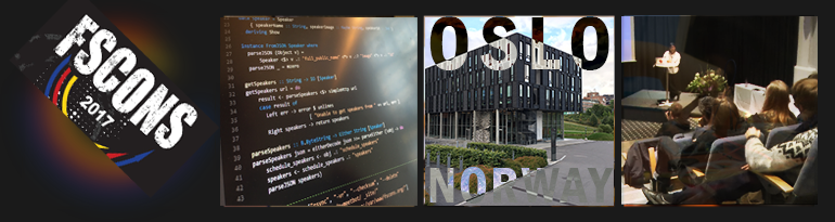 Banner that says: FSCONS 2017, Oslo Norway, with some pictures of some code, the IFI building and people listening to a keynote